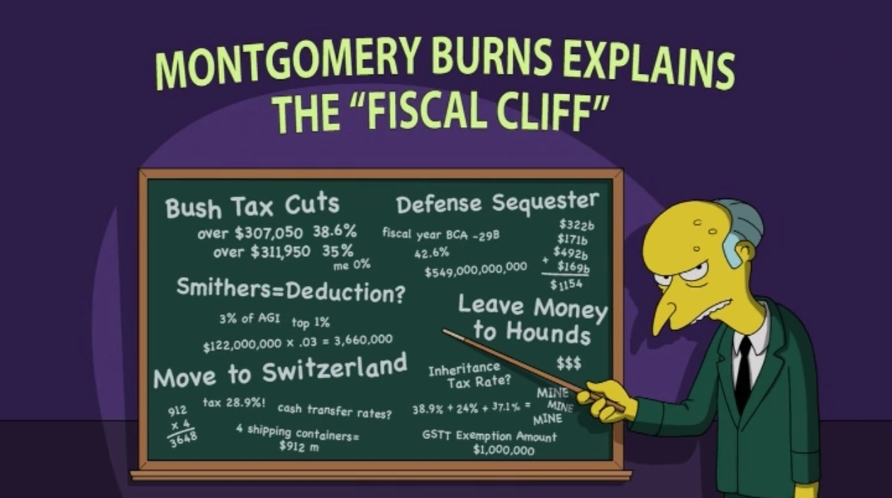montgomery burns explains the fiscal cliff
