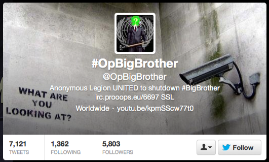 #OpBigBrother on twitter